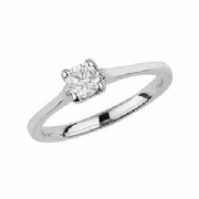 9ct White Gold 0.35ct Solitaire Diamond Ring Four Claw webbed tulip style mount
